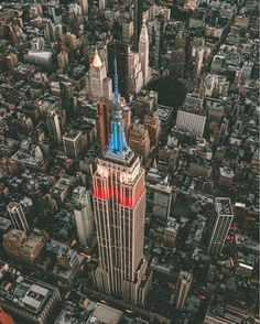 #AlphaCollective member @marcodegennarophotos flew over the Empire State Building last Monday. This classic structure was lit up red white and blue for the Memorial Day holiday    | Sony A7Rii | 24-70 F 2.8 G Master Lens | 24mm | ISO 500 | F 2.8 | 1/400 sec | via Sony on Instagram - #photographer #photography #photo #instapic #instagram #photofreak #photolover #nikon #canon #leica #hasselblad #polaroid #shutterbug #camera #dslr #visualarts #inspiration #artistic #creative #creativity