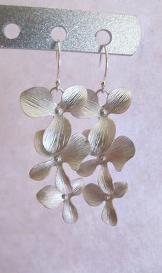 Triple Orchids earrings in STERLING SILVER. by RoyalGoldGifts