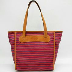 """$ DROPPED: Fossil Colorful Striped Handbag NWT Leather Straps Coated Canvas material as exterior of bag Zips all the way closed 12"""" x 11.5"""" x 4"""" (depth) strap drop is 11"""" 100% Authentic Lightweight Fossil Bags Shoulder Bags"""