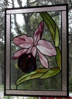 orchids in stained glass | Orchidé lila/Orchid violet, 425x305 mm