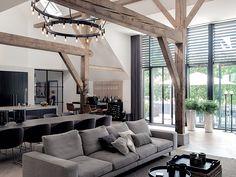 Chalet Design, House Design, Open Plan Kitchen Living Room, Piece A Vivre, Interior Decorating, Interior Design, House Front, Apartment Design, Home And Living