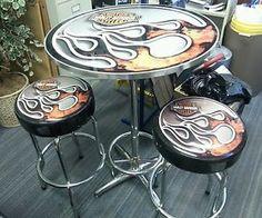 Harley Davidson Cafe Table and Stools | eBay
