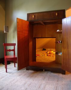Real-life secret playroom through a Narnia-wardrobe! No space?  Take the door off any child's built in closet and put a cheap wardrobe from craigslist with a cut out back against it.  Voila! -- THIS IS THE MOST AWESOME IDEA I'VE SEEN ON PINTEREST!!!!! Forget the kids, I want this.