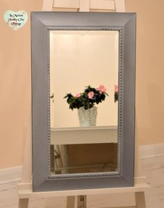 SOLD  LARGE Grey Bevelled Bobble Mirror Wood Wall Hanging Shabby Chic FREE Delivery  Hand Painted by LaMaisonShabbyChic on Etsy