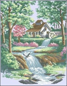 Summer landscape with a house by the river Cross Stitch House, Beaded Cross Stitch, Cross Stitch Kits, Cross Stitch Designs, Cross Stitch Embroidery, Cross Stitch Patterns, Dimensions Cross Stitch, Cross Stitch Landscape, Cottage Art