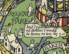 A child being eaten in Regent's Park is more concerned about teatime. | 9 Wonderful Details From A Hundred-Year-Old Map Of The London Underground
