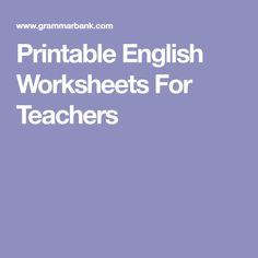 Printable English Worksheets For Teachers