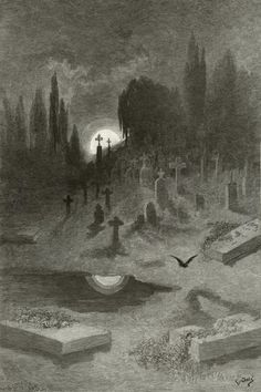 The Raven, Wandering from the Nightly Shore by Gustave Dore (Frederick Juengling, engraver)