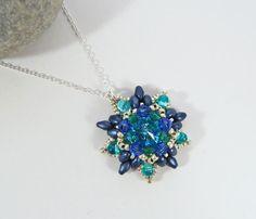 Summer Flower Necklace Aqua Crystal Necklace by BeauBellaJewellery #flower #necklace #aqua #Swarovski #beadwork