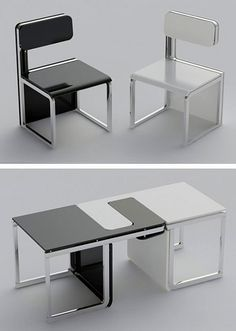 Chairs turn into a table... cool idea!
