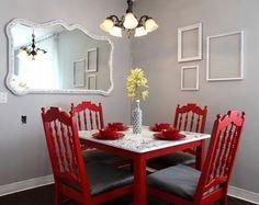 Cочетания серого цвета в интерьере (41 фото): сдержанное великолепие http://happymodern.ru/cochetaniya-serogo-cveta-v-interere-39-foto-sderzhannoe-velikolepie/ Красная мебель в обрамлении грифельных стен