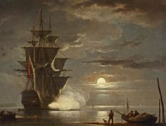 A Ship Firing a Gun by Moonlight by Francis Swaine. National Maritime Museum