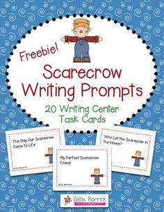 FREE Scarecrow Writing Prompts Task Cards - 20 Writing Center Activity Cards!