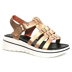 521ed814cb74 Best Metallic Rose Gold Caged Open Toe Rubber Chunky Platform White Heel  Wedge Slingback Comfort Colores