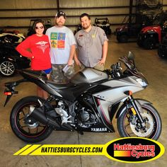 Thanks to Jessica Gabrielle and Christopher Stocks from Picayune MS for getting a 2016 Yamaha R3. #HattiesburgCycles