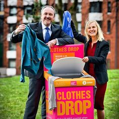 Marks and Spencer Director of Plan A Richard Gillies launches Shwopping on campus with the University's Head of Sustainability Dr Louise Ellis. The scheme makes recycling clothes easier for staff and students by placing clothes recycling boxes called Shwop Drops on campus. M then work with Oxfam to re-sell, re-use or recycle the clothing, raising funds for its work to alleviate poverty around the world.    Find out more at www.leeds.ac.uk/news/article/3369/