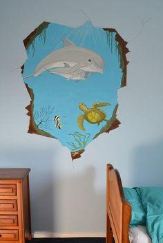 Onderwater doorkijkje - dolfijnen | muurschildering | kinderkamer | www.groeneballon.nl | Den Haag