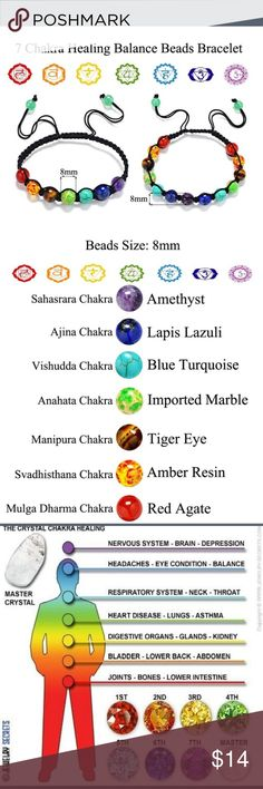 Chakra Healing Bracelets Healing Stones For Different Chakra / Areas Of Body/Health!  See Pictures For Each Stone's Info. Jewelry Bracelets