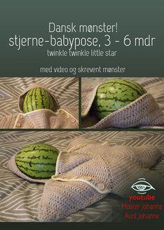 """dansk mønster på """"twinkle twinkle little star"""" stjerne-babypose, 3 - 6 mdr"""