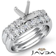 Round Diamond Women Engagement Ring Bridal Sets Platinum 950 Semi Mount 0 8ct | eBay
