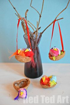 "We love Walnut crafts all year round... for Spring we made these little colourful Bird Nests. The kids adored rolling the ""balls"" to make the birds and together we added the details."