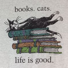 L Edward Gorey #Books #Cats Life Is Good T-Shirt Kitty Tuxedo Gray Cartoon Large #EdwardGorey