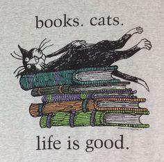 L Edward Gorey #Books #Cats Life Is Good T-Shirt Kitty Tuxedo Gray Cartoon Large #EdwardGorey