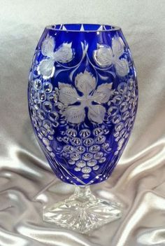 Vintage Bohemian Cobalt Blue Cut To Clear Crystal Vase Grape Design Czech Crystal Glassware, Crystal Vase, Waterford Crystal, Clear Crystal, Cobalt Glass, Cobalt Blue, Blue Vases, Cut Glass, Glass Art