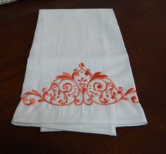Embroidered Flour Sack Dish Towel Apricot by TheBridesHopeChest