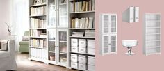 Love this for living room or family room/library  BORGSJÖ white bookcases and cabinet with tempered glass doors