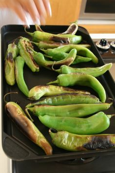 How to roast Hatch chiles from Shockingly Delicious. I broiled mine for nine minutes on the first side and five on the second. Perfect.