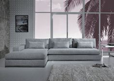 Grey Sofa Bed, Sectional Sofa With Chaise, Sofa Couch, Living Room Sectional, Living Room Grey, Sofa Set, Living Room Furniture, Fabric Sectional, Sofa Furniture