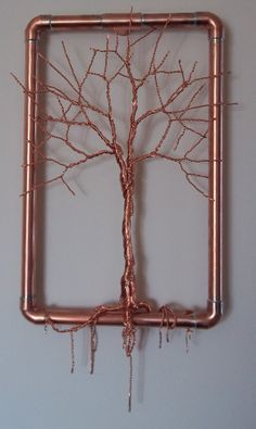 Copper Wire Tree Sculptur Hanging Wall Art by TwistedSouls on Etsy, $120.00