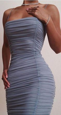 Sexy Slip Semi Sheer Ruched Bodycon Sundress - spaghetti strap sun dress dusty blue ruched bodycon spaghetti bandeau dress scrunch midi dresses skinny strap dress body cons Source by - Prom Outfits, Hoco Dresses, Mode Outfits, Evening Dresses, Teen Outfits, Sexy Dresses, Wedding Dresses, Fitted Dresses, Homecoming Dresses