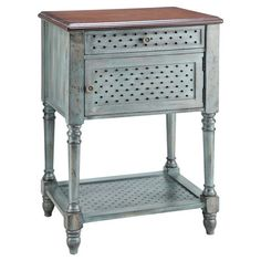 One-drawer weathered wood end table with center cabinet and open bottom shelf.  Product: End tableConstruction Material: ...