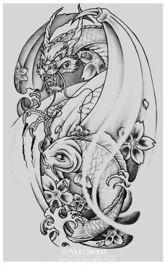 Only the best free Koi Dragon Tattoo Drawings tattoo's you can find online! Koi Dragon Tattoo Drawings tattoo's to print off and take to your tattoo artist. Koi Dragon Tattoo, Dragon Tattoo Designs, Dragon Tattoo Sketch, Pisces Tattoo Designs, Dragon Fish, Dragon Head, Japanese Koi Fish Tattoo, Japanese Dragon Tattoos, Japanese Tattoo Designs