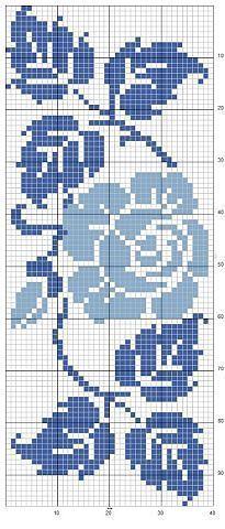 Blue rose cross stitch Mais