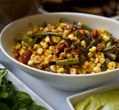 Warm Chipotle Maple Corn & Asparagus Spring Salad