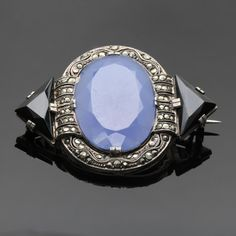 Gorgeous chalcedony, black onyx and marcasite deco brooch by Theodor Fahrner.
