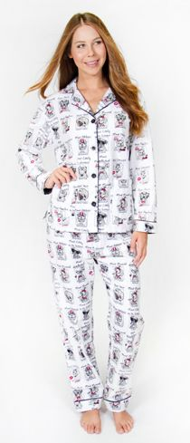 "PJ Salvage Women's Fantastic Flannels ""Yearbook Dogs"" Pajama Set in Ivory"