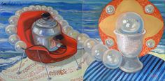 """Cooking up a Pearl, Oil and Eggshells on Panel, 48"""" x 24"""", ©2012 by Jennie Traill Schaeffer."""
