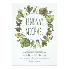Greenery Wedding Invitations Rustic Woodland Greenery Modern Wedding Card