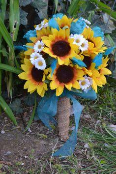Sunflower Turquoise Bridal Bouquet Silk Wedding by MyDayBouquet
