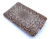 Leather iPhone case / iTouch case - Double chocolate lace. $50.00, via Etsy.