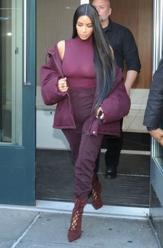 Kim Kardashian Goes Braless, Sports Head-to-Toe Burgundy at Kanye West's Yeezy Season 5 Fashion Show