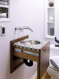 tiny sink in a drawer! (via Unique Bathroom Furnishings) Small Bathroom Sinks, Tiny Bathrooms, Tiny House Bathroom, Bathroom Storage, Bathroom Ideas, Bathroom Designs, Bathroom Closet, Toilet Storage, Bathroom Modern