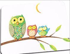 """""""Owls on a Limb"""" Mousepad"""