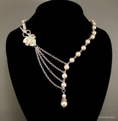 Necklace with Pearls and Leaf in Silver | byBrendaElaine - Jewelry on ArtFire