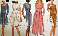 Sewing Pattern VOGUE 1593 Misses Dresses UNCUT Complete Size 12 14 16  Bust 34-38 by GoofingOffSewing on Etsy
