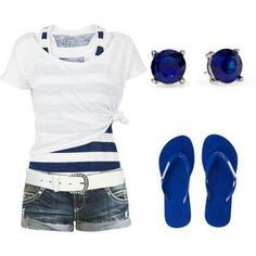 Summer outfit! cute. not sure if it needs the T-shirt overtop or the white belt...one or the other methinks. I have those earrings already, so this is doable!!